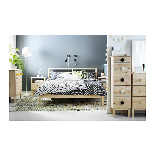 TARVA Queen bed frame with Luröy slatted