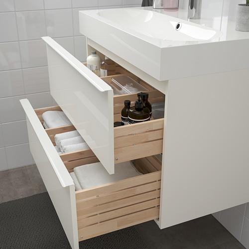 BRÅVIKEN/GODMORGON armario para lavamanos con 2 gavetas, juego de 3