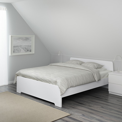 ASKVOLL Full bed frame with Luröy slatted