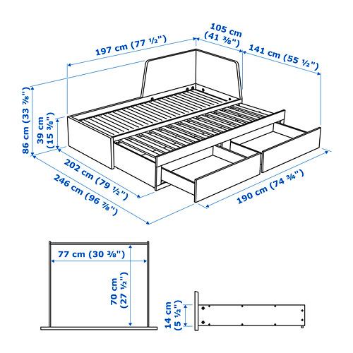 FLEKKE diván con 2 gavetas y 2 mattresses twin