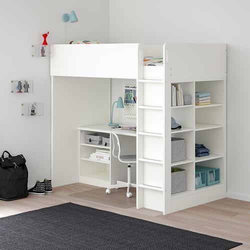 STUVA combinación cama alta+ 3 estantes y escritorio con 2 estantes, twin