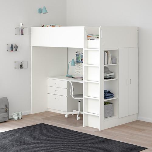 FRITIDS/STUVA cama alta + 2 puertas y escritorio con 3 gavetas, twin