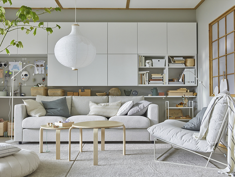 A living room with storage when the family grows