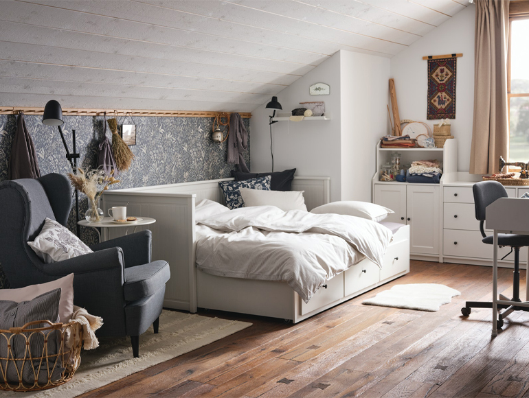 A cosy guest room and craft room in one